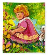 Children's Art - Little Girl With Puppy - Paintings For Children Fleece Blanket