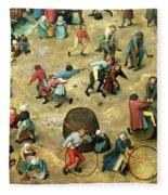 Childrens Games Kinderspiele Detail Of Bottom Section Showing Various Games, 1560 Oil On Panel Fleece Blanket