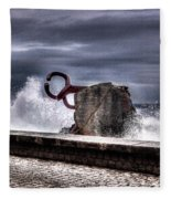 Chillidas Comb Of The Wind In San Sebastian Basque Country Spain Fleece Blanket