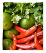 Chillies And Limes Fleece Blanket