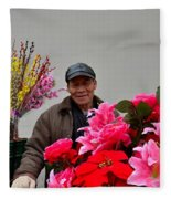 Chinese Bicycle Flower Vendor On Street Shanghai China Fleece Blanket