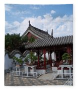 Chinese Bonsai Garden Fleece Blanket