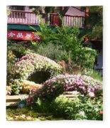 Chinese Garden Fleece Blanket