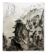 Chinese Mountains With Poem In Ink Brush Calligraphy Of Love Poem Fleece Blanket