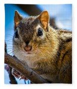 Chipmunk On A Branch Fleece Blanket
