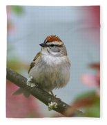 Chipping Sparrow In Blossoms Fleece Blanket