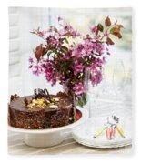 Chocolate Cake With Flowers Fleece Blanket