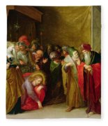 Christ And The Woman Taken In Adultery Fleece Blanket