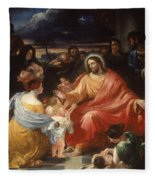 Christ Blessing The Little Children Fleece Blanket