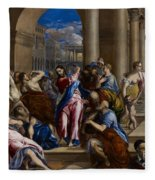 Christ Driving The Money Changers From The Temple Fleece Blanket