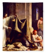 Christ Healing The Sick  Fleece Blanket