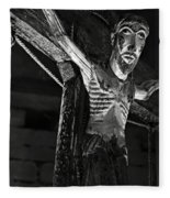 Christ Of Salardu - Bw Fleece Blanket