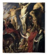 Christ On The Cross Between The Two Thieves Fleece Blanket