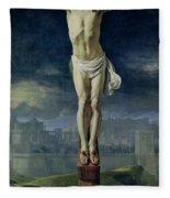 Christ On The Cross Fleece Blanket
