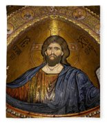 Christ Pantocrator Mosaic Fleece Blanket