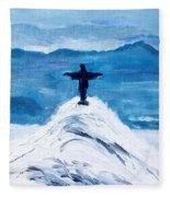 Christ Statue In Rio In Blue Fleece Blanket