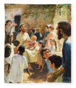Christ With Children Fleece Blanket