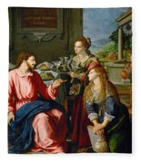Christ With Mary And Martha Fleece Blanket
