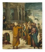 Christ With The Adulterous Woman Fleece Blanket