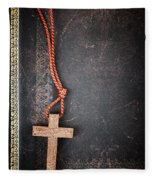 Christian Cross On Bible Fleece Blanket