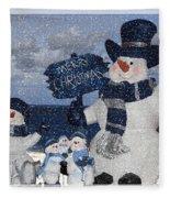 Christmas - Snowmen Collection - Family - Peace - Snow Fleece Blanket