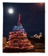 Christmas At Maines Nubble Lighthouse Fleece Blanket