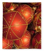 Christmas Balls In Red And Gold Fleece Blanket