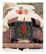Christmas Car Card Fleece Blanket