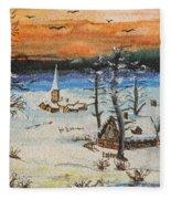 Christmas Card Painting Fleece Blanket