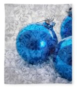 Christmas Card With Vintage Blue Ornaments Fleece Blanket