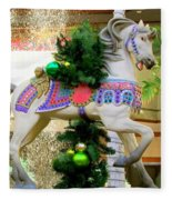 Christmas Carousel Horse With Pine Branch Fleece Blanket