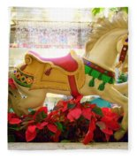 Christmas Carousel Horse With Poinsettias Fleece Blanket