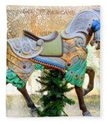 Christmas Carousel Warrior Horse-1 Fleece Blanket