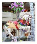 Christmas Carousel White Horse Fleece Blanket
