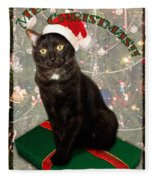 Christmas Cat Fleece Blanket