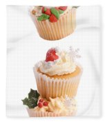 Christmas Cupcake Tower Fleece Blanket