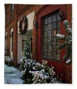Christmas Decorations In Grants Pass Old Town  Fleece Blanket