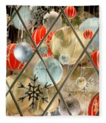 Christmas Decorations In Window Fleece Blanket