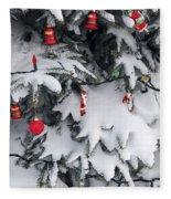 Christmas Decorations On Snowy Tree Fleece Blanket
