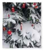Christmas Decorations On Snowy Tree Fleece Blanket