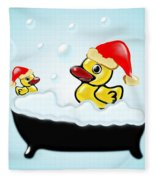 Christmas Ducks Fleece Blanket