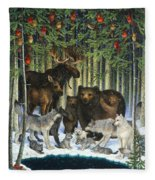Christmas Gathering Fleece Blanket