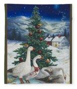 Christmas Geese Fleece Blanket