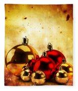 Christmas Glass Balls On Winter Gold Background Fleece Blanket