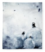 Christmas Glass Balls On Winter Vintage Background Fleece Blanket