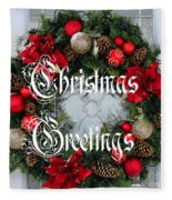 Christmas Greetings Door Wreath Fleece Blanket