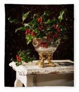Christmas Holly Fleece Blanket