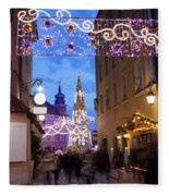Christmas Illumination On Piwna Street In Warsaw Fleece Blanket