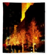 Christmas In New York - Trees And Star Fleece Blanket