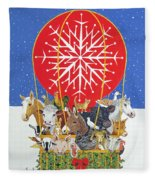 Christmas Journey Oil On Canvas Fleece Blanket